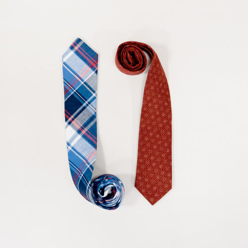 Red Geometric Floral Print Cotton Tie