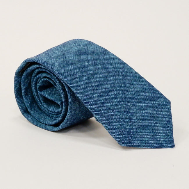 Solid Dark Aqua Blue Melange Cotton Tie