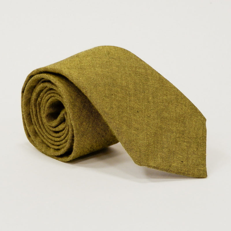 Solid Citron Olive Green Melange Cotton Tie