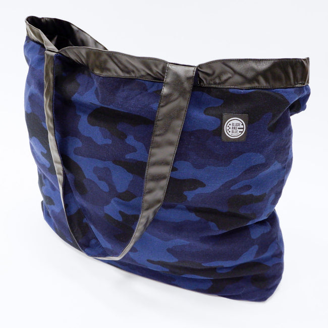 Blue Camouflage & 'Faux' Leather  Reversible Jumbo Tote Bag
