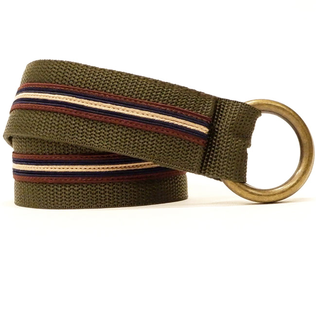 Olive & Burgundy Stripe Belt by One Magnificent Beast One Piece Size L Available