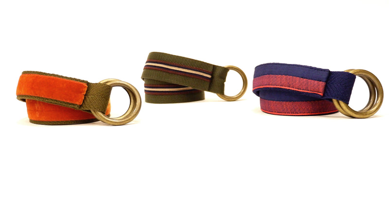 Olive & Burgundy Stripe Belt by One Magnificent Beast