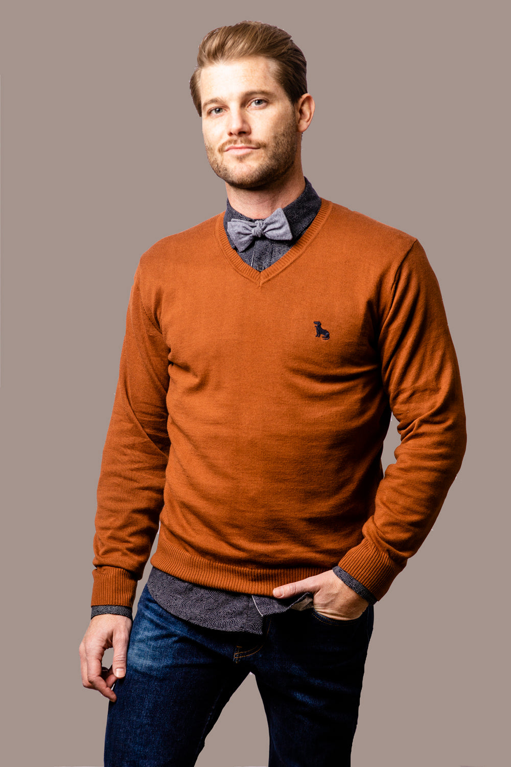 Copper Cotton V-Neck Sweater