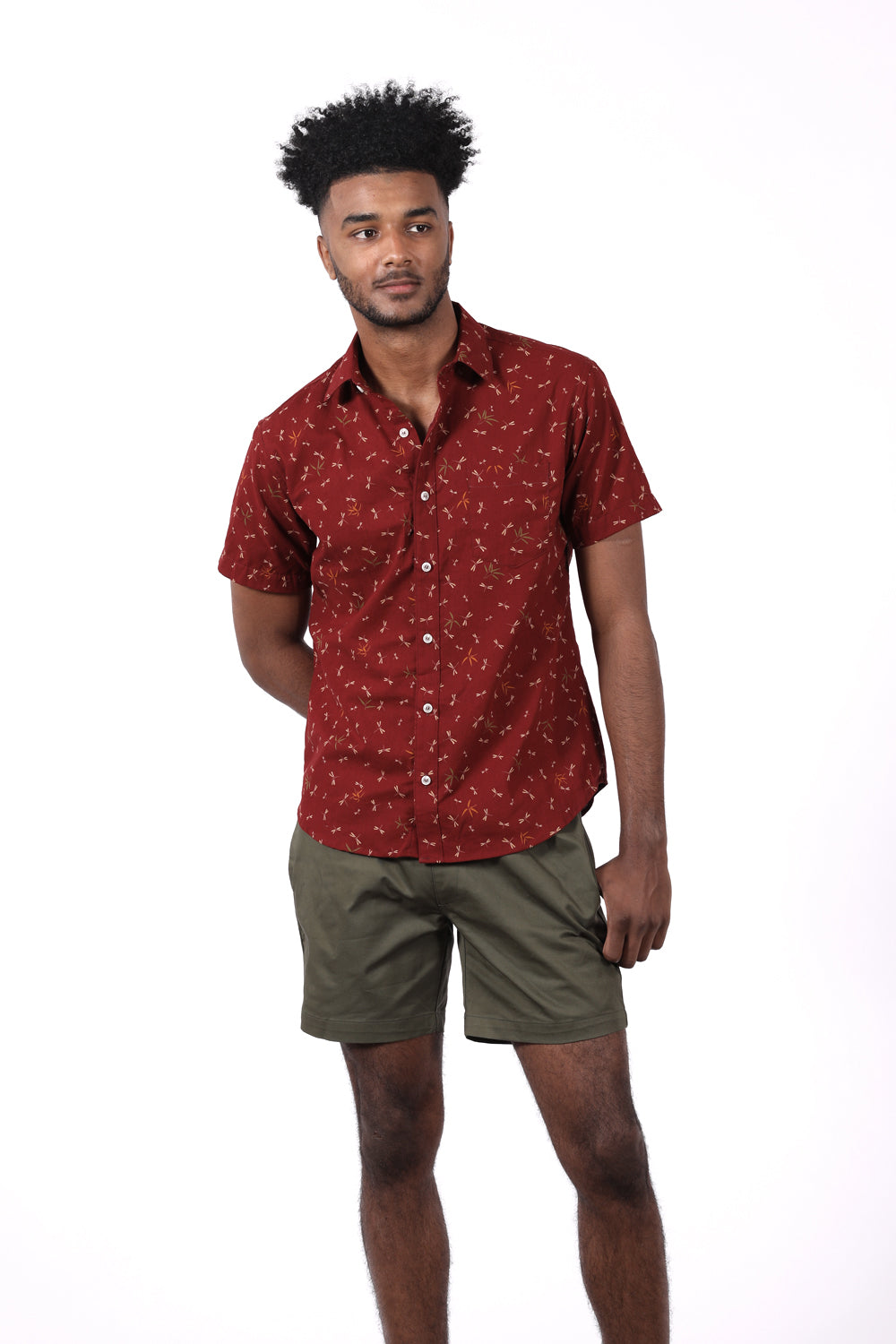 Red Dragonfly Print Short Sleeve Shirt - Marshall