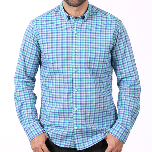Green & Blue Open Check Shirt - Edmond Size XXL Available