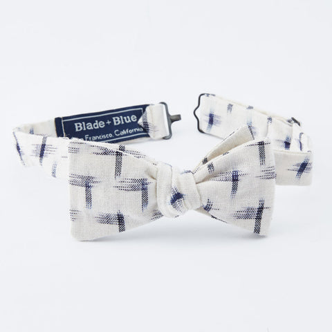 Off White & Navy Ikat Print Bow Tie