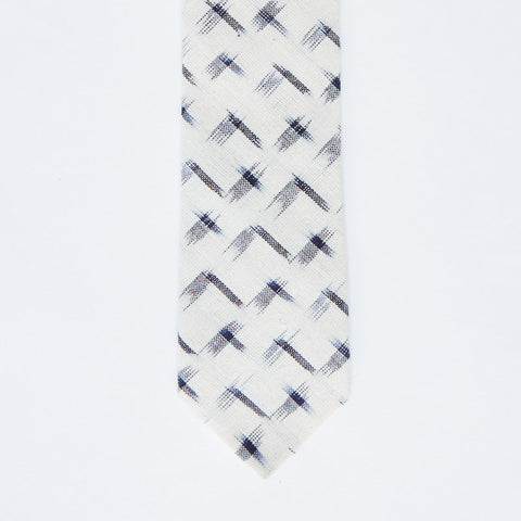 Off White & Navy Ikat Print Tie
