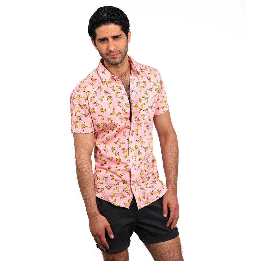 Pink Banana Print Short Sleeve Shirt - Jerry Size XL Available