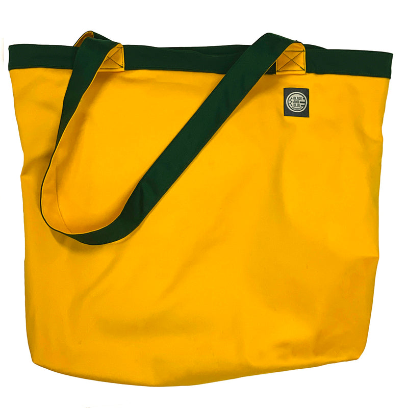 Hunter Green & Gold Cotton Stretch Reversible Tote Bag