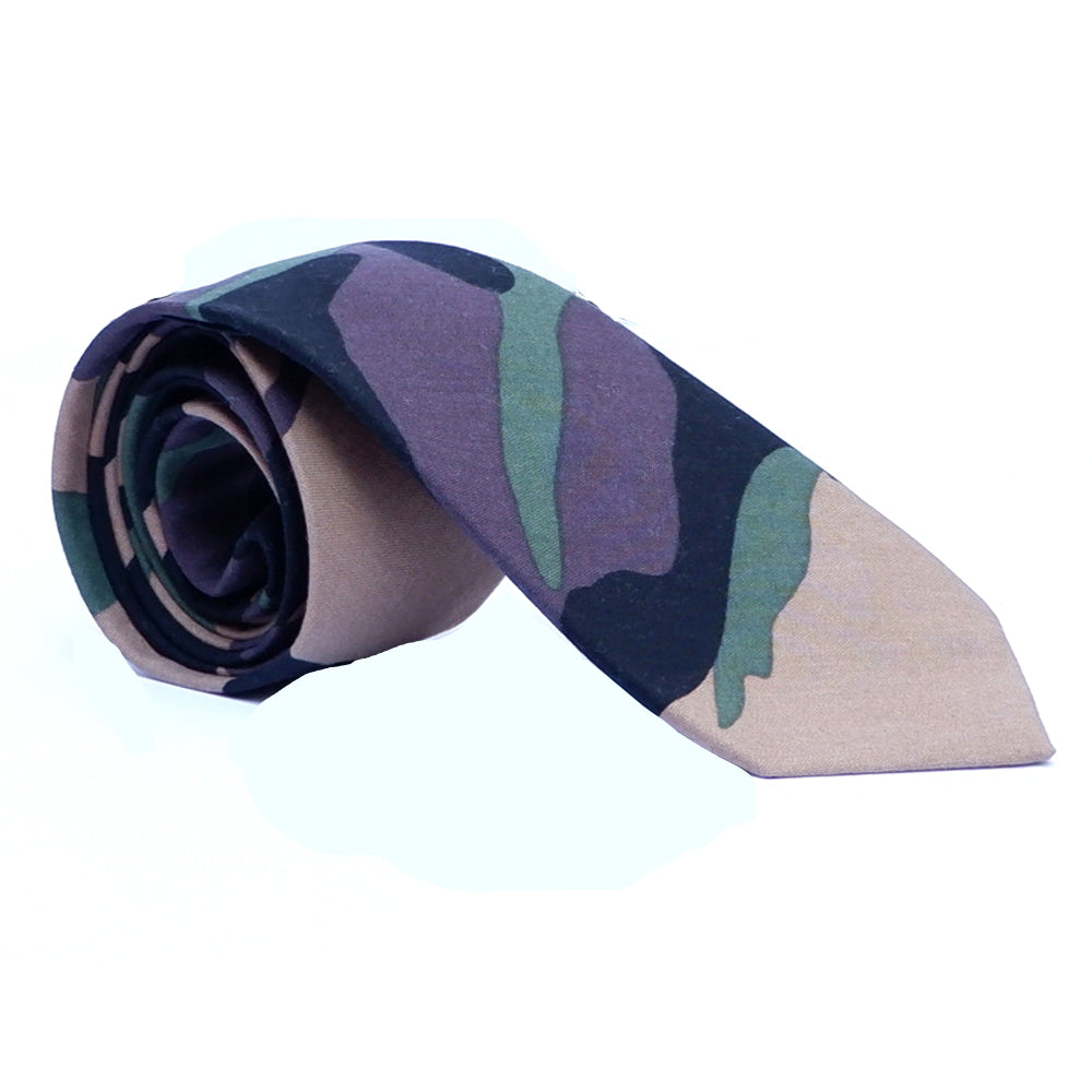 Green Camouflage Print Tie