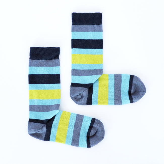 Steel Grey, Aqua Blue & Lime Stripe Socks