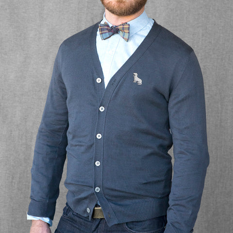 Navy Blue Cotton V-Neck Sweater