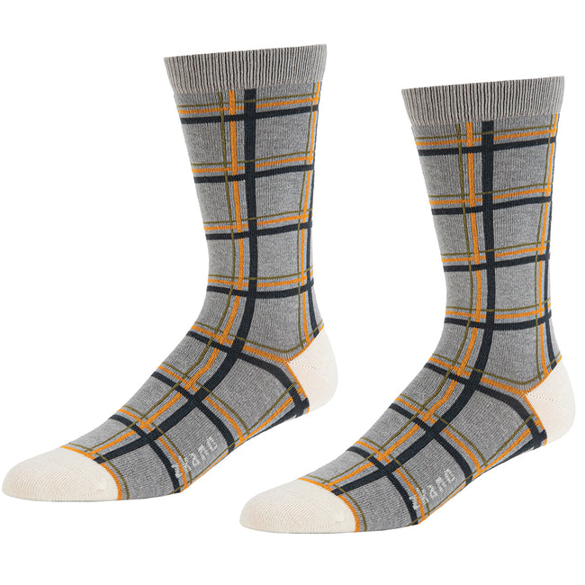 Heather Grey Windowpane Pattern Socks