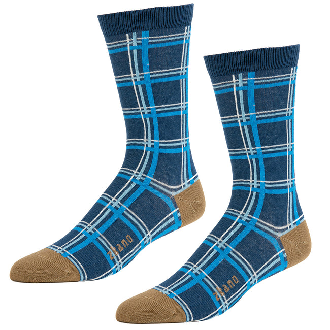 Navy Blue Windowpane Pattern Socks