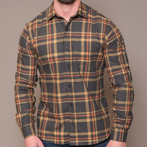 Orange & Aqua Open Plaid Shirt - Eddie