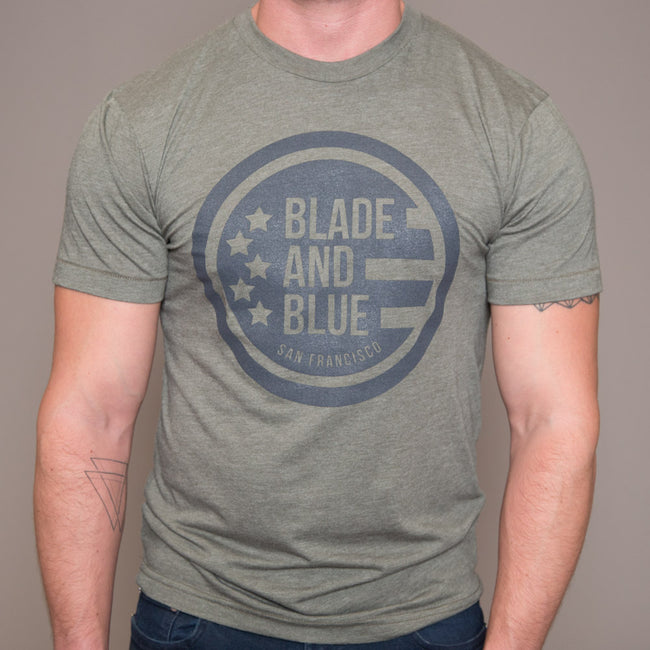 Olive & Grey Blade + Blue Crest Tee Size XL Available