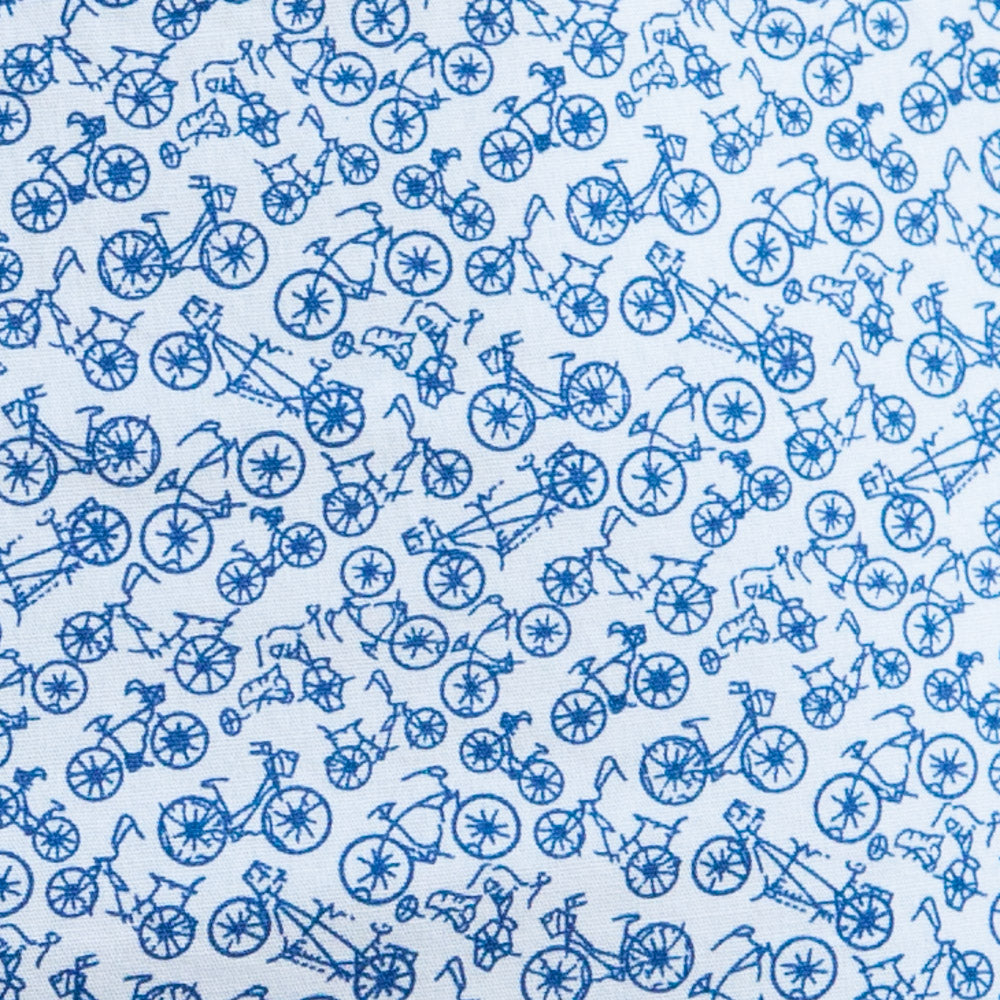 White with Blue Bicycle Print Boxer - Adams