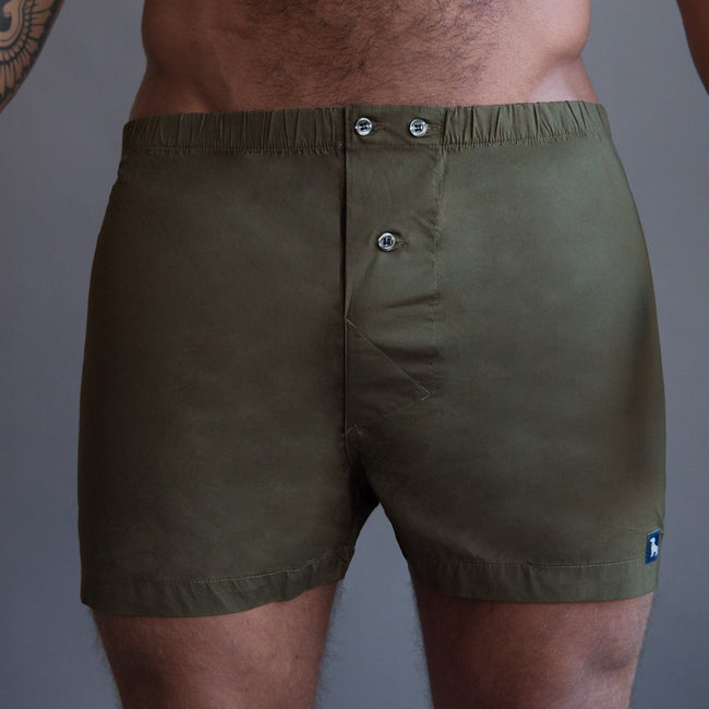 Solid Olive Green Blue Boxer Short - Ollie
