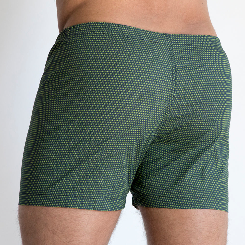 Navy with Green 'X' Print Boxer - Xander
