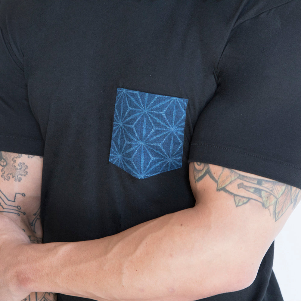 Black with Blue Starburst Print Pocket Tee