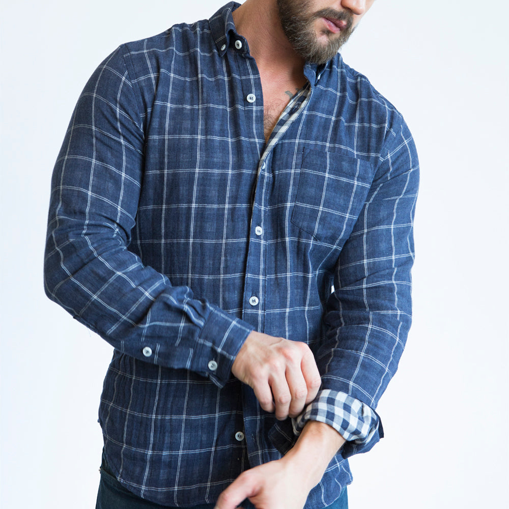 Navy Blue Windowpane & Gingham Double Cloth Shirt - 'Miles' Size S Available