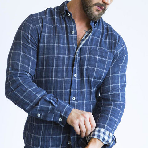 Blue & White Brushed Cotton Mini Plaid Shirt - Durell