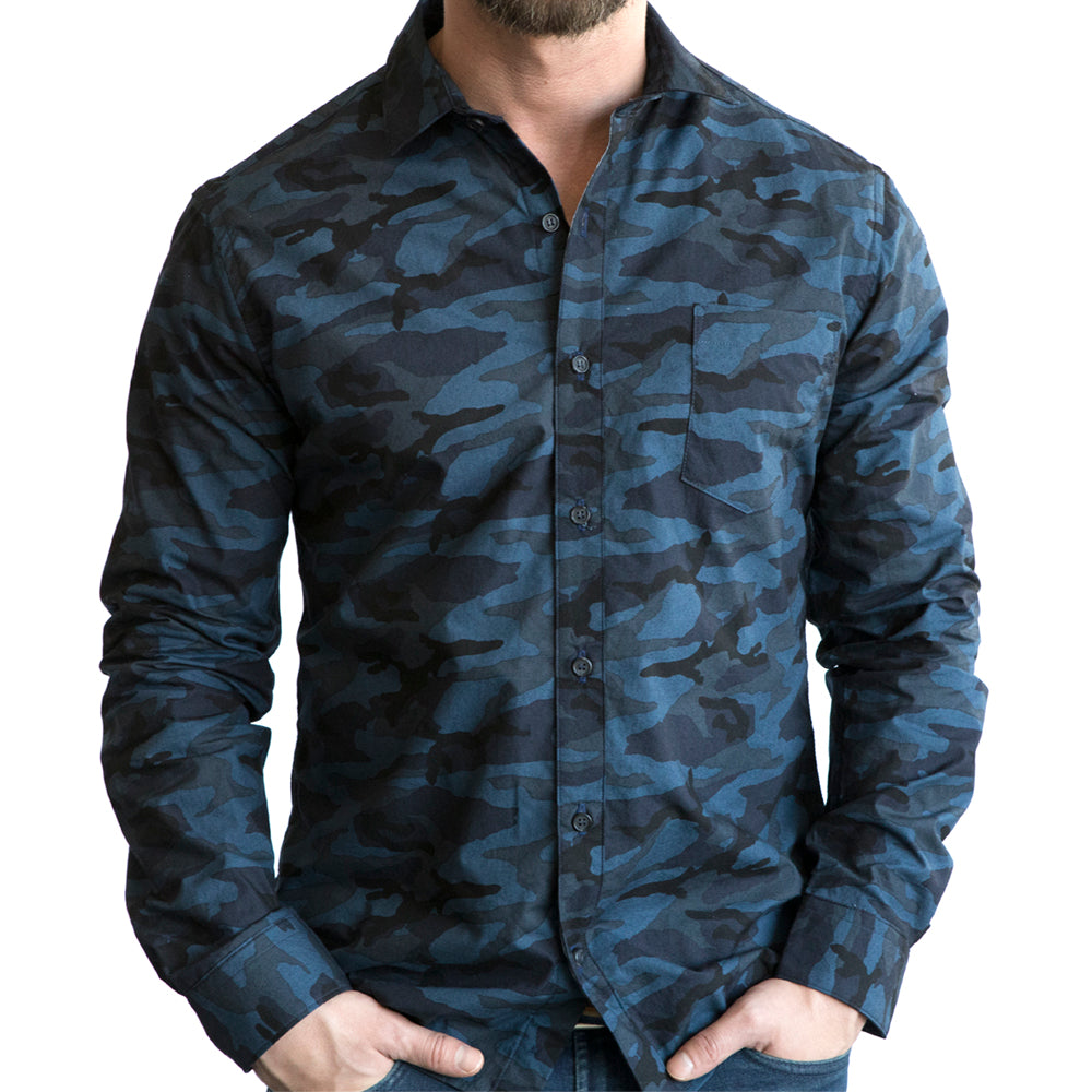 Blue & Black Camouflage Print Long Sleeve Shirt - Nathaniel  Size S Available