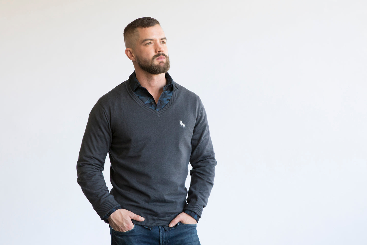 Charcoal Grey Cotton V-Neck Sweater