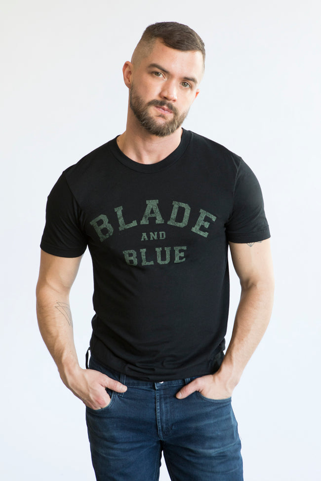 Black with Olive Blade + Blue Tee