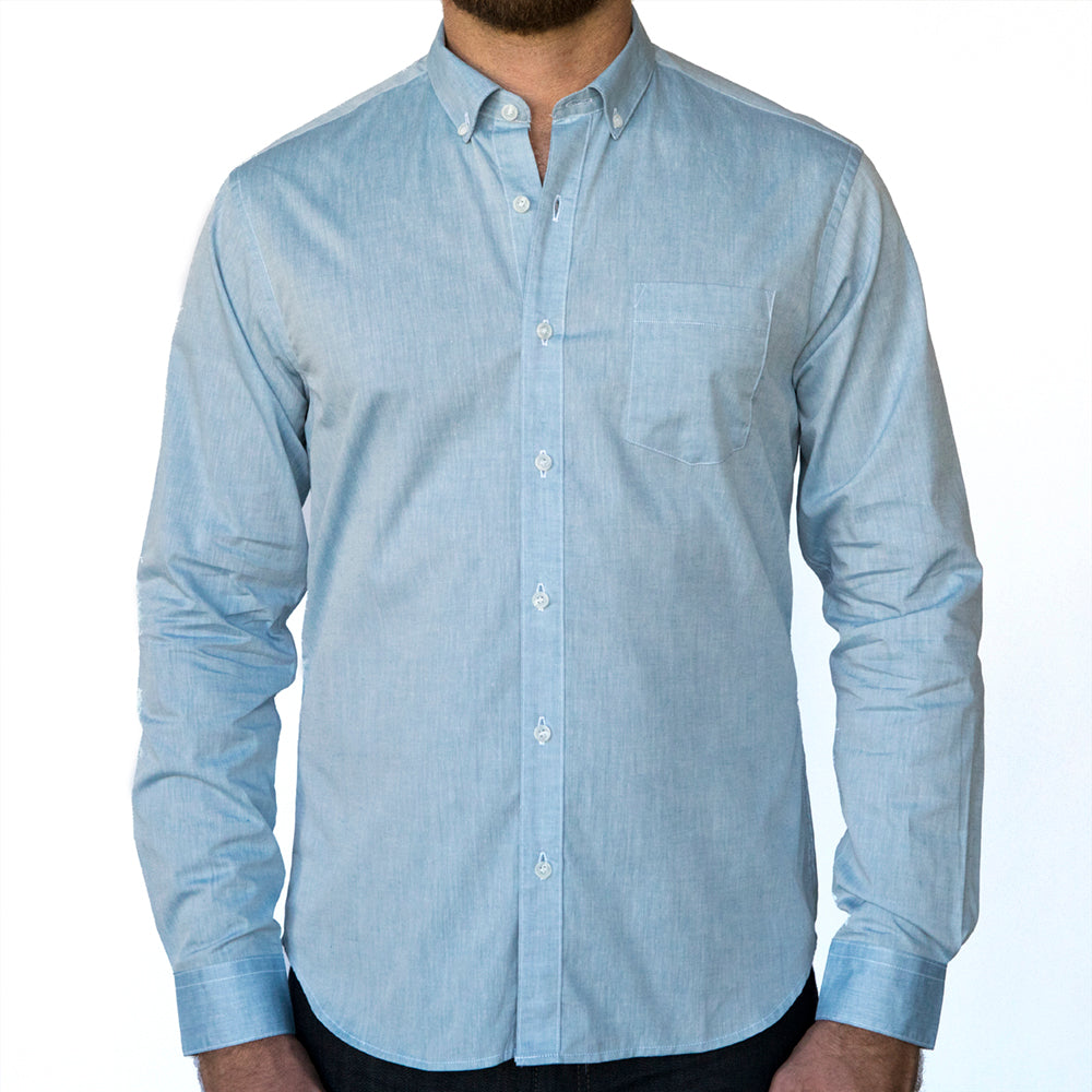 7d815608de8 Solid Blue Chambray Cotton Long Sleeve Shirt Made in USA – Blade + Blue