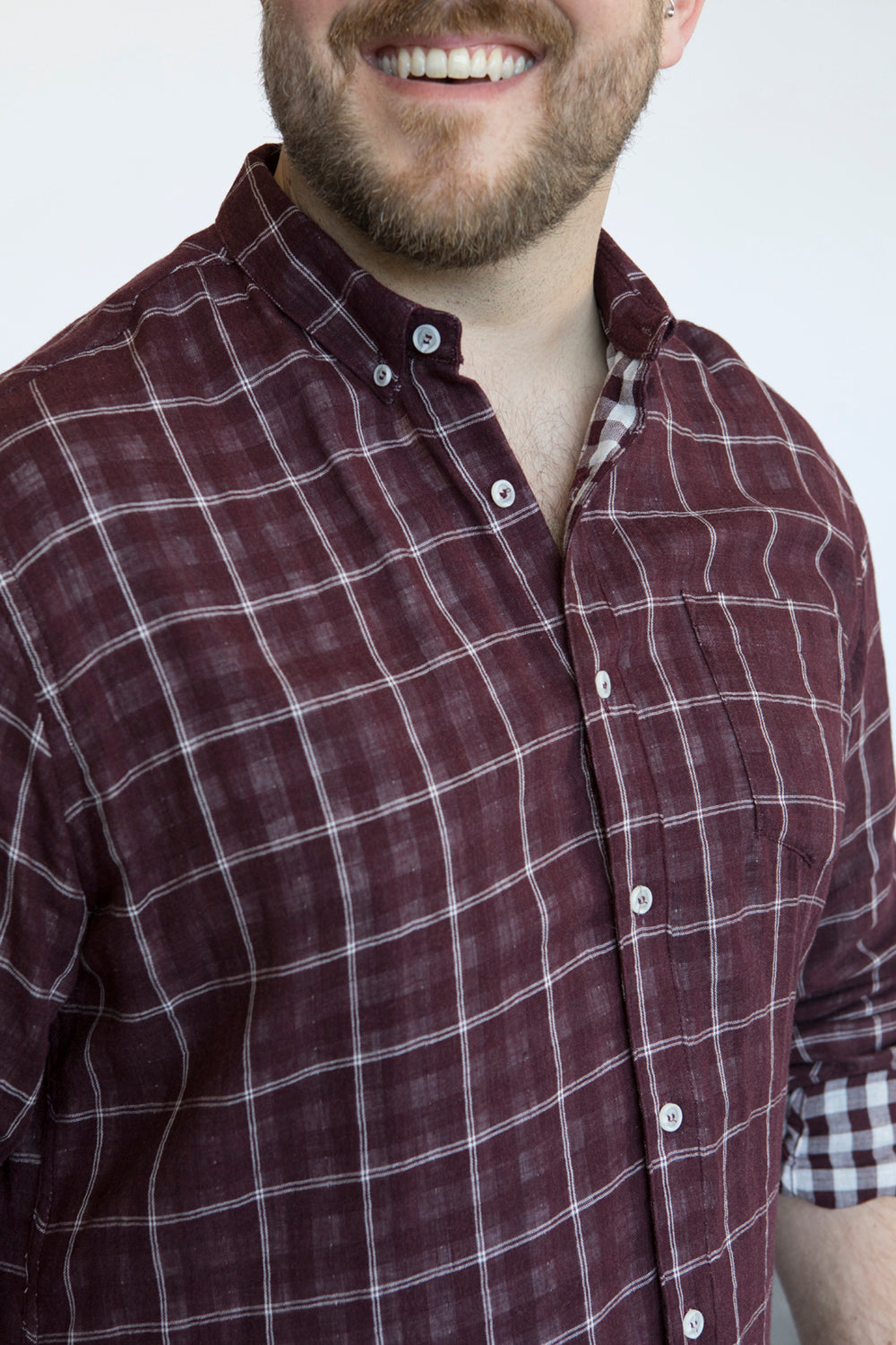 Burgundy Windowpane & Gingham Double Cloth Shirt - Buddy   Size M Available