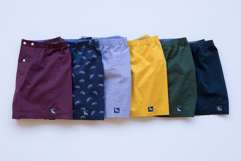 Navy with Green 'X' Print Boxer Short - Xander