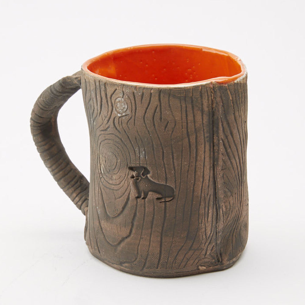 Ceramic Faux Wood with Orange Dachshund Mug