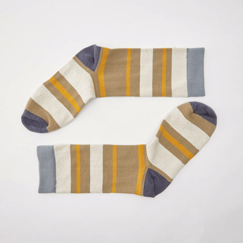 Khaki, Cream & Orange Stripe Socks