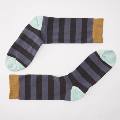 Tonal Grey Rugby Stripe with Mint & Khaki Socks