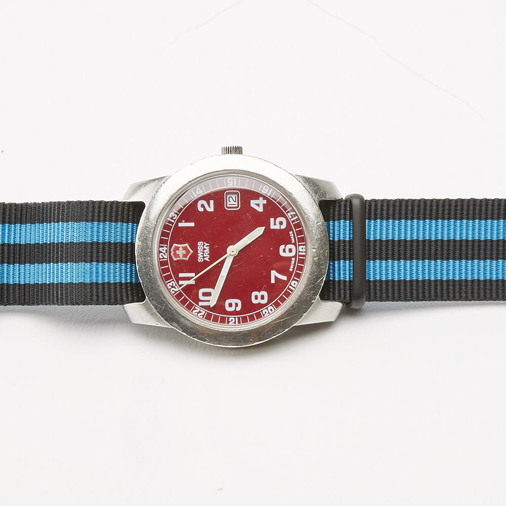 Vintage Red Swiss Army Field Watch with Striped Military Band