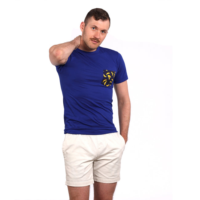 Royal Blue with Banana Print Pocket Tee