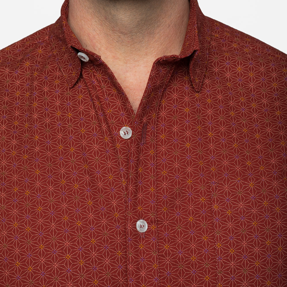 Red Japanese Geometric Floral Print Shirt - Cagney