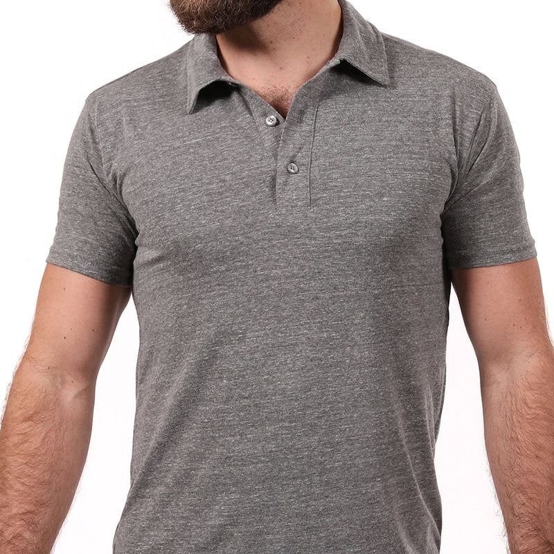 Vintage Grey Heather ECO-Friendly Tri-Blend Jersey Polo
