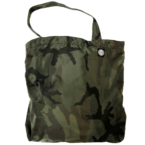 Green Camouflage & Solid Black Cotton Reversible Tote Bag