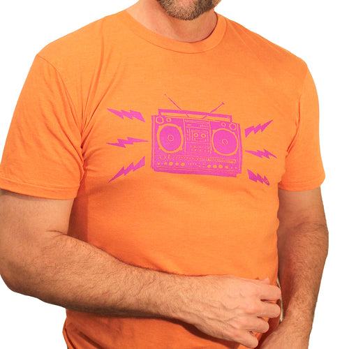 Provincetown Boombox On Orange Tee - A Few Pieces Found! Sizes S & M Available