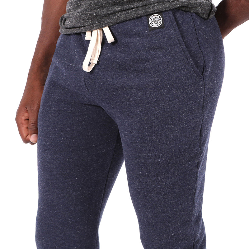 Navy Blue Marled Jogger Sweatpants Made in USA Sizes L & XL Available