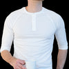 Solid White Cotton 3/4 Raglan Sleeve Henley