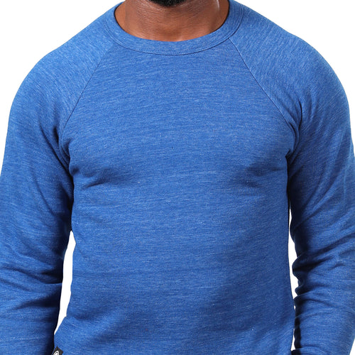 Royal Blue Marled Raglan Sleeve Crewneck Sweatshirt - Made in USA