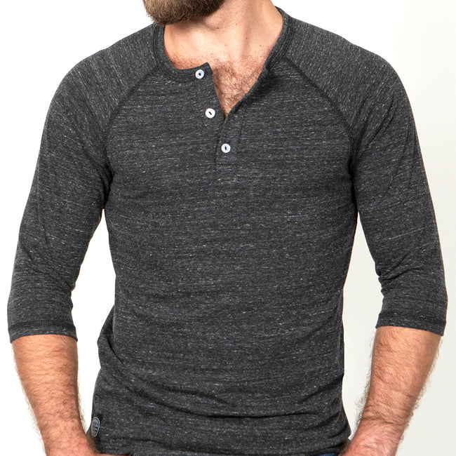 Grey Marled  3/4 Raglan Sleeve Henley Size S Available