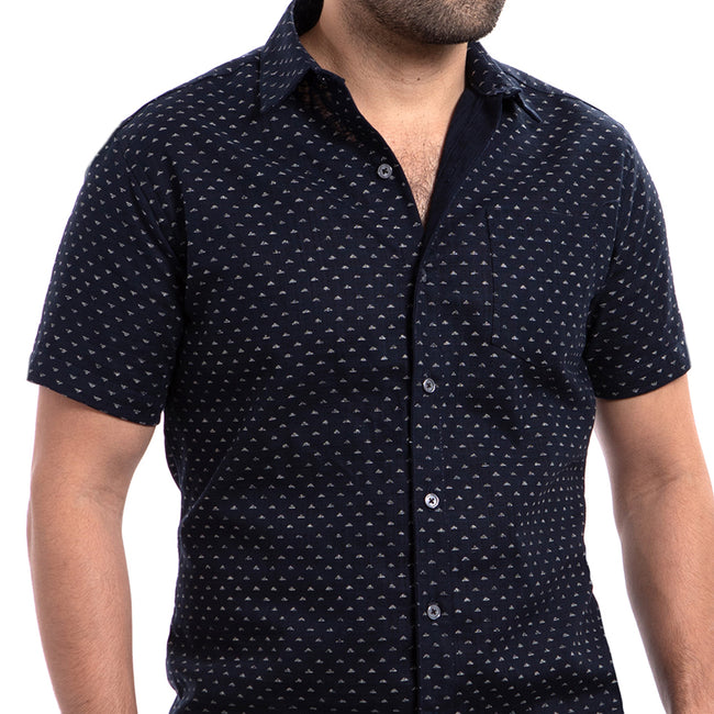 Japanese Indigo Dyed Triangles Geometric Print Shirt - Duke