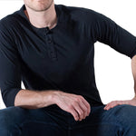Solid Black Cotton 3/4 Raglan Sleeve Henley