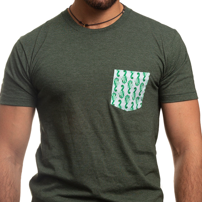 Green with Seahorse Print Pocket Tee