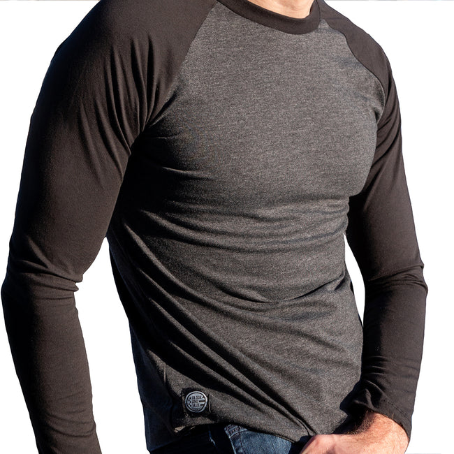 Charcoal & Black Contrast Long Sleeve Raglan Baseball Tee