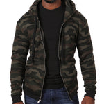 Olive Green Camouflage Hooded Fleece Zip Jacket - Made in USA